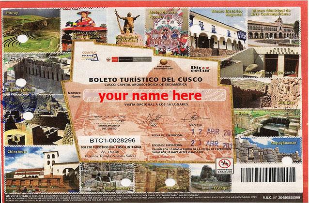 Biglietto turistico Cusco di 10 giorni