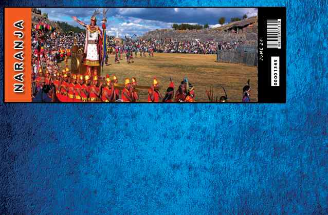 Inti Raymi 2020 ticket. Orange section
