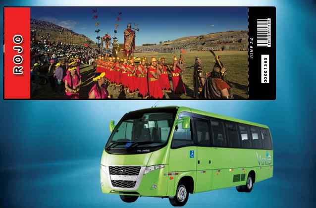 Inti Raymi 2020 ticket. Red section + tour bus